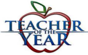 Image of an apple with the words Teacher of the Year inside.